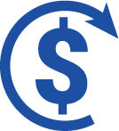 Dollar sign with arrow visualising deferment of payment